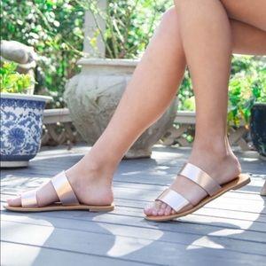 Shoes - Rose gold sandals flat shoes